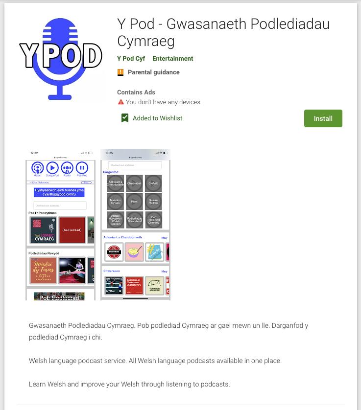 App podlediadau Cymraeg Y Pod yn y Google Play Store.